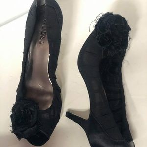 Guess Black Bows & Lace Platform Peep toe Heels6.5